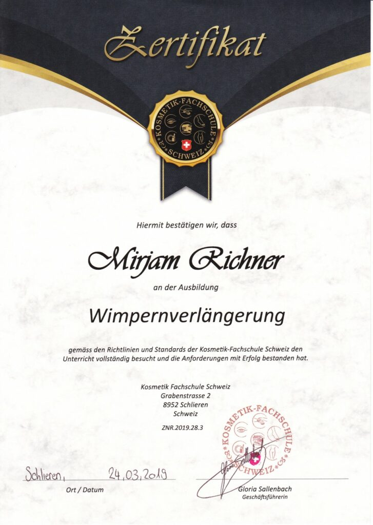 Zertifikat Wimpernverlaengerung